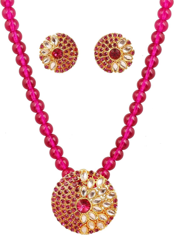Touchstone New Indian Bollywood Shimmering Mughal Kundan Polki Fuchsia Color Faux Tourmaline Elegant Style Pendant Set in Gold Tone for Women.