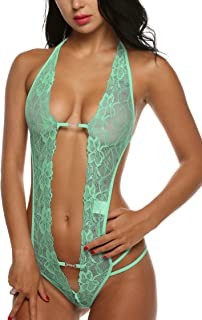 Women Deep V Lingerie Lace Babydoll Mini Bodysuit