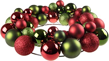 Clever Creations Christmas Ornament Wreath Bright Red & Green | Festive Holiday Décor | Classic Theme | Lightweight Shatter R