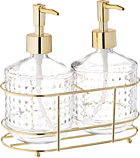 Circleware 32474 Vintage Gold Hobnail Dispenser Bottle Pumps in Metal Caddy 3-Piece Set of Home Bathroom Accessories, Farmhouse Decor for Essential Oils, Lotions, Liquid Soaps, 17.5 oz, Clear