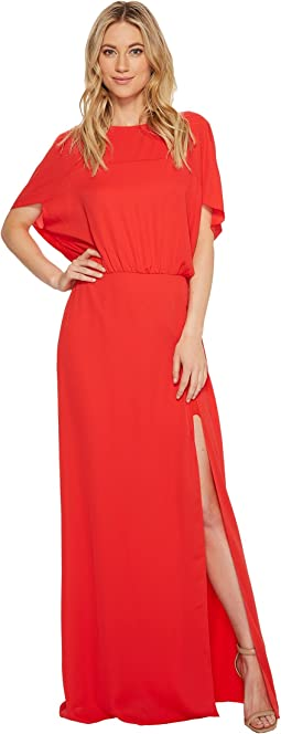 Halston Heritage - Flowy Short Sleeve Wide Boatneck Gown w/ Split
