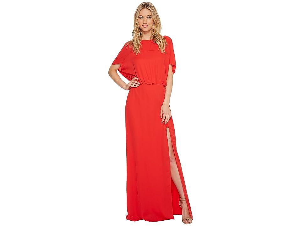 Halston Heritage Flowy Short Sleeve Wide Boatneck Gown w/ Split (Lipstick) Women