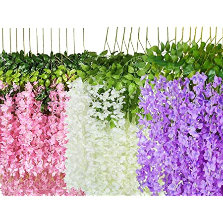 LOGRO Pack of 12piece Artificial Vine Fake Pink, Purple & White Wisteria Hanging Garland Long Hanging Bush Flowers, String Home, Party Decor (4-Pink, 4-Purple, 4-White)