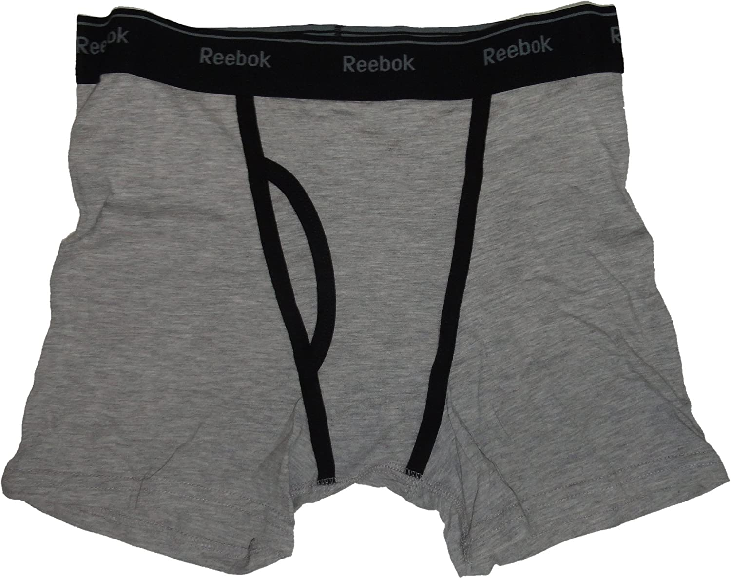 Reebok Men's Stretch Boxer Briefs, Size Small 28/30, Black/Grey, (Pack of 2)