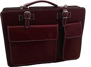 CTM Borsa Cartella a Spalla Rosso Porta Documenti da Uomo, 38x29x11cm, Vera Pelle 100% Made in Italy