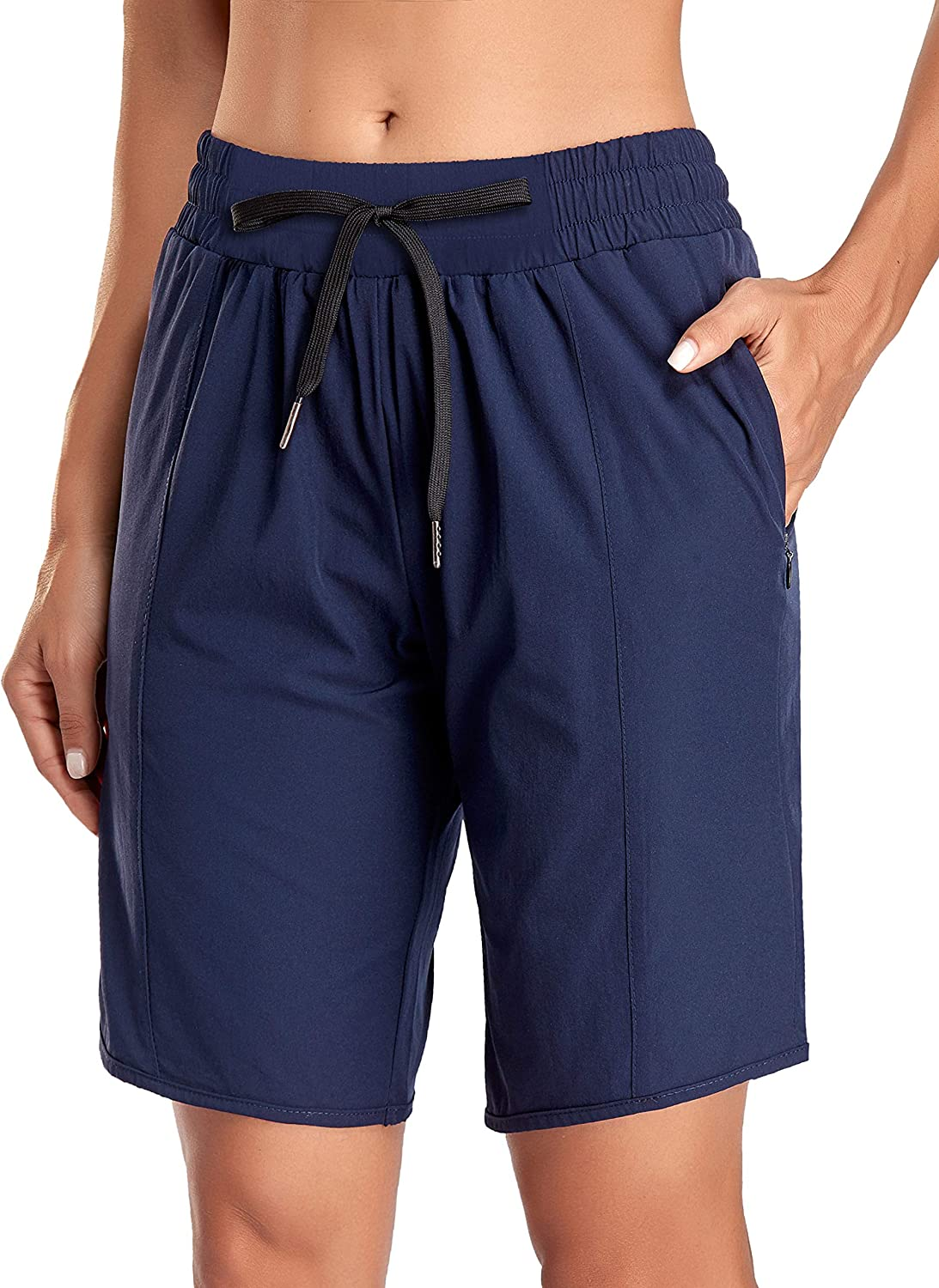 Kimmery Workout Shorts for Women Pockets Adjus Zipper Sweat Safety and trust with Max 89% OFF