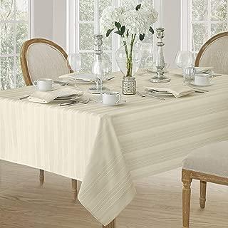 Newbridge Satin Stripe Weave No-Iron Soil Resistant Fabric Tablecloth, 60