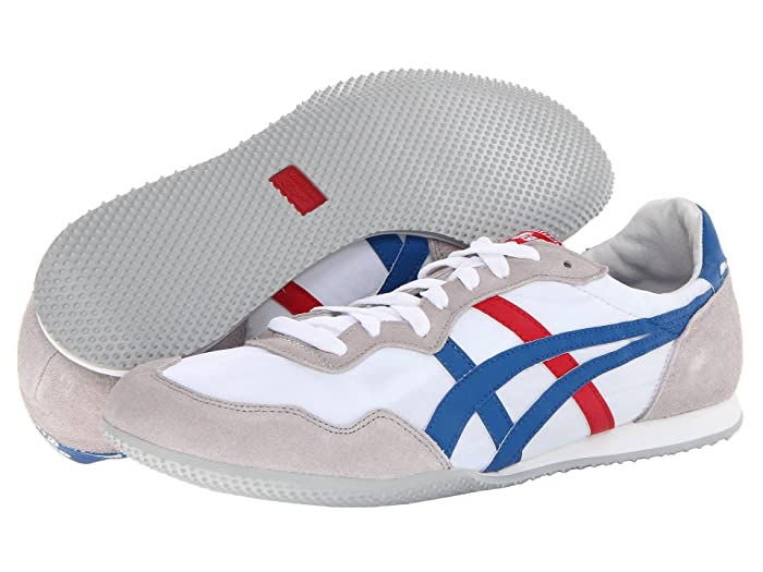 Retro Sneakers, Vintage Tennis Shoes Onitsuka Tiger Serranotm WhiteBlue Classic Shoes $74.95 AT vintagedancer.com