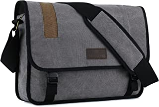 "Plambag Canvas Messenger Bag 15.3"" Laptop Satchel Bag Schoolbag"