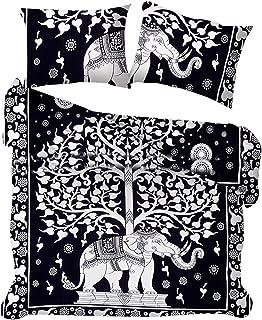 Marusthali Funda nórdica Blanca Negra Fundas de Almohada Funda de Almohada Donna Funda de edredón Manta de Elefante Colcha Hippie Árbol de la Vida Funda nórdica Juego de Cama Juego de Bolsos Sábana