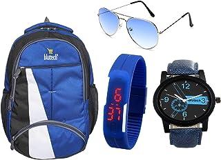 BLUTECH Boy's 30 L Fabric Laptop Backpack, Analogue Watch and LED Watch Aviator (Blue)