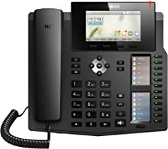 Fanvil X6 High-End VoIP Phone, 4.3-Inch Color Display, Two 2.8-Inch Side Color Displays for DSS Keys. 20 SIP Lines, Dual-port Gigabit Ethernet, Power Adapter Not Included