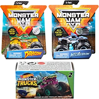 Hot Wheels SharkDragon Creatures Green Dragon Shark Megalodon Action Jam 2019 Giant Official Pickup Bundled Blind Box Series Mini Monster Truck with Power Key Launcher 3 Items Bundle