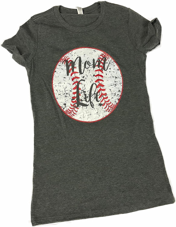 Devious Apparel Mom Life 6004 TM09 Fitted Ladies Baseball Softball Team Mom Tee Printed