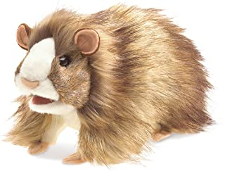 Folkmanis Guinea Pig Hand Puppet Plush, Brown/Light Tan/White
