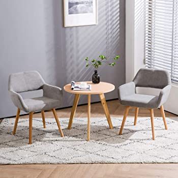 Homy Grigio Modern Living Dining Room Accent Arm Chairs Club Guest with Solid Wood Legs (Set of 2,Gray)