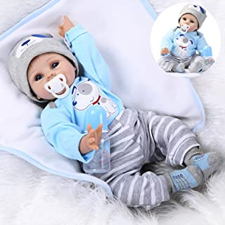 Medylove Realistic Reborn Baby Dolls Boy Lifelike Silicone Vinyl 22 Inches 55 cm Weighted Body Wearing Toy Blue Dog Cute Doll Eyes Open Gift Set for Ages 3+