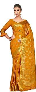 MIMOSA Women's kanchipuram Chiffon Saree With Blouse Piece
