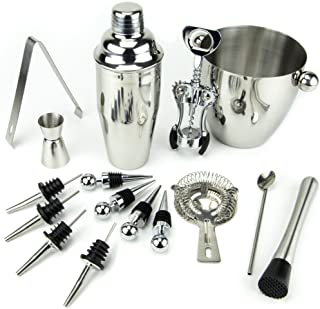 16 Piece Bar Set - Premium Stainless-Steel Bartender Cocktail and Martini Drink Shaker Kit by Cocktailor