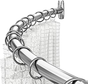 HBlife Curved Shower Curtain Rod Adjustable Shower Rod 41 to 72 Inches for Bathroom Rustproof Stainless Steel,Sliver