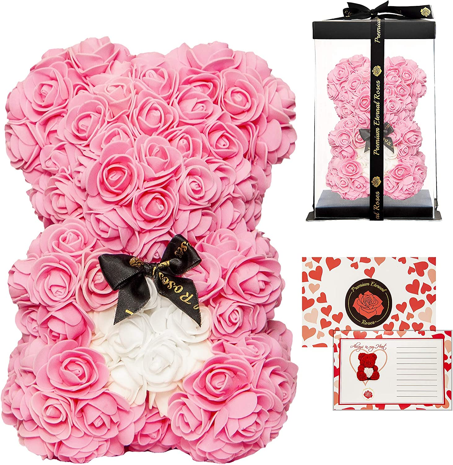 Clear Gift Box Rose Bear 16 Inches and 10 Inches Flower Bear Perfect for Birthdays Valentines Premium Eternal Rose Rose Teddy Bear Gray with Red Heart, 16 Inch