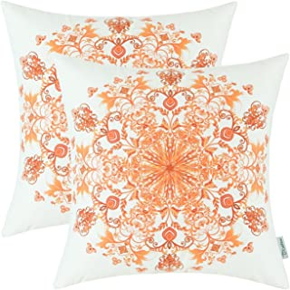CaliTime Pack of 2 Cozy Fleece Throw Pillow Cases Covers for Couch Bed Sofa Vintage Mandala Snowflake Floral 18 X 18 Inches Orange Red