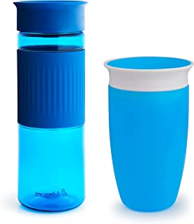 Munchkin Miracle 360 Cup Parent and Kid Set, 24 and 10 Ounce, Blue, Set of 2,Combo Pack