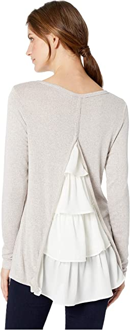 Ruffle Back Long Sleeve Knit