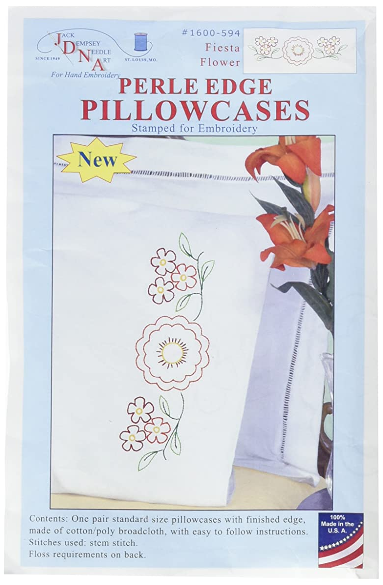 Jack Dempsey 1600-594 Stamped Pillowcases with Perle Edge (2 Pack), Fiesta Flowers, White