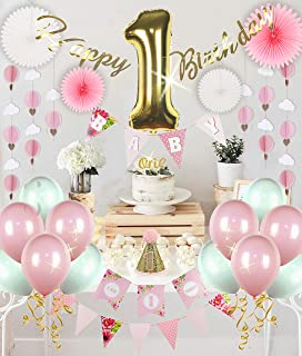 RainMeadow Premium | 1st Birthday Girl Decorations | First Birthday Floral Set | Pink and Gold 1st Birthday Decorations Girl | Party Supplies | Girl First Birthday Decorations
