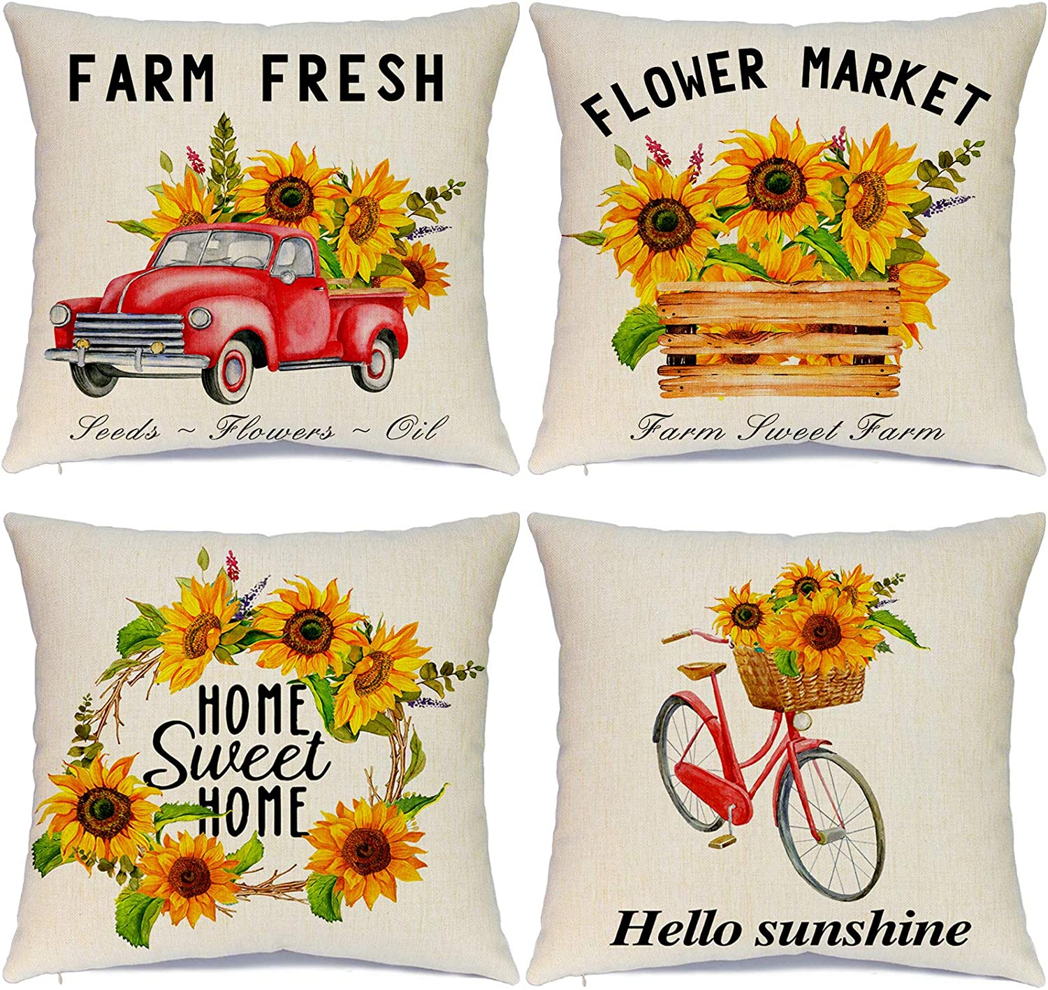 Hlonon Sunflower Summer Pillow Covers 18 x 18 Inch Set of 4 Summer Decorations Vintage Truck Bicycle Farmhouse Linen Pillows Cushion Cover Case for Home Decor