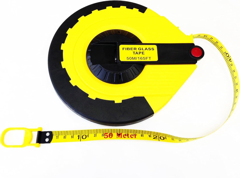 30m//100ft POWSTRO Open Reel Tape Measure Fiberglass Tape Measure 50m//165ft