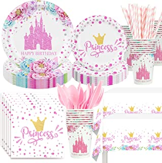 NAIWOXI Princess Birthday Party Supplies - Princess Party Decorations Tableware Set Include Plates, Napkins, Cups, Cutler...