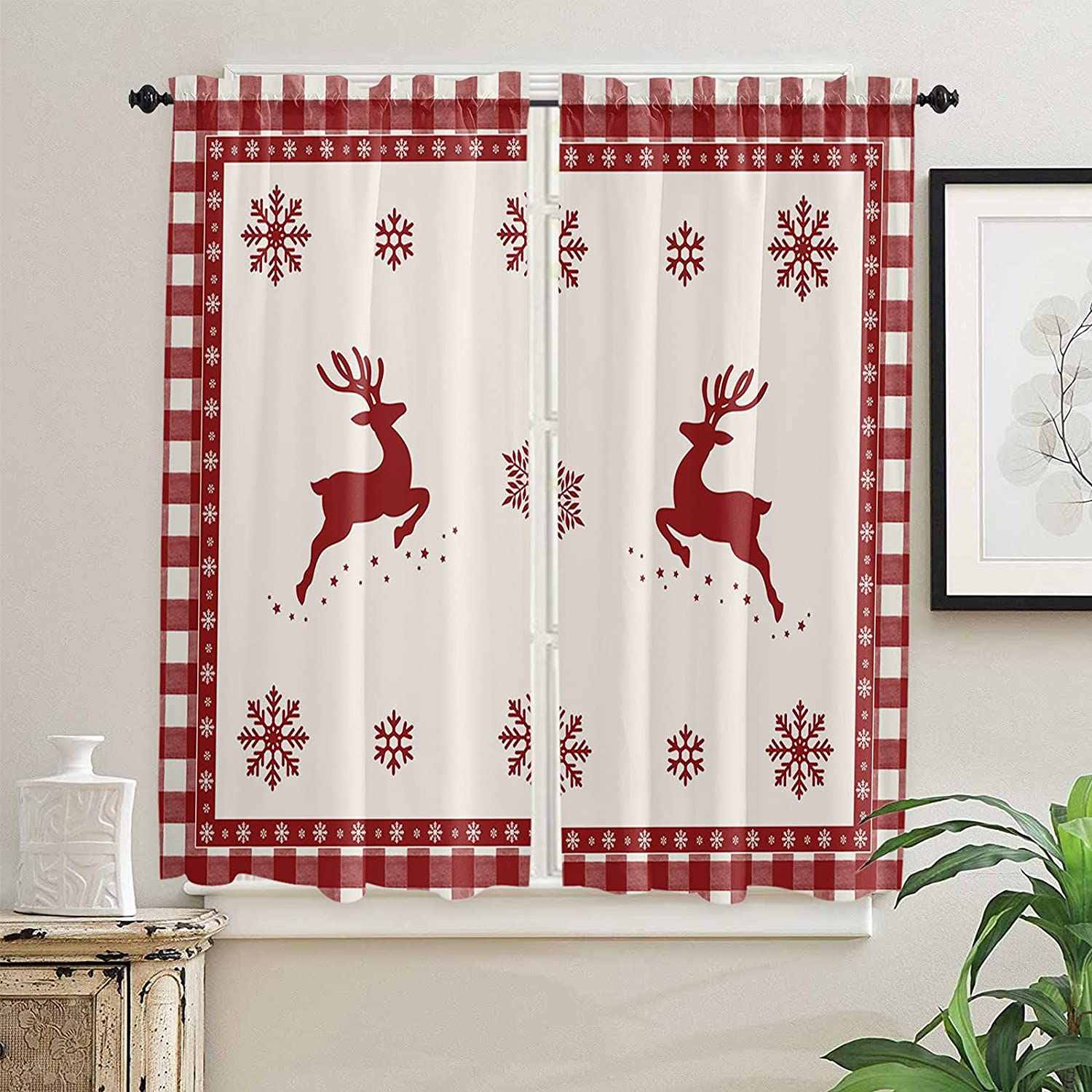 Christmas Snowflakes Kitchen Curtains 63 New Shipping Free Length for Inch Windows Super sale