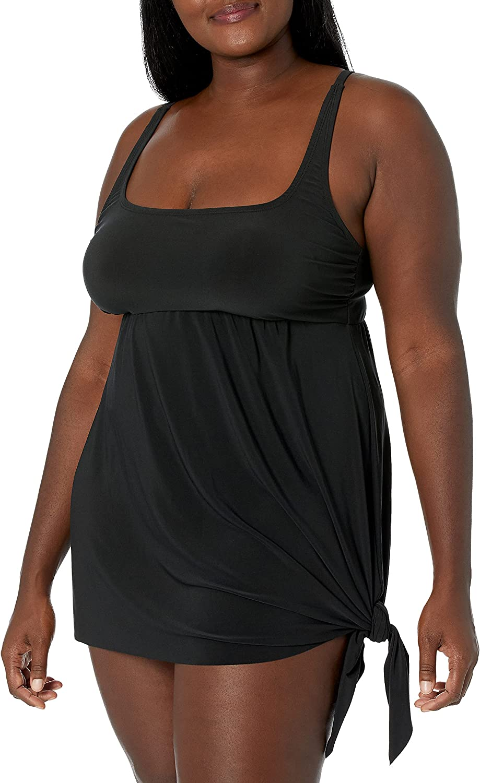 Amazon Brand - Coastal Blue Women's Size Plus Side Tie Longline Tankini Top