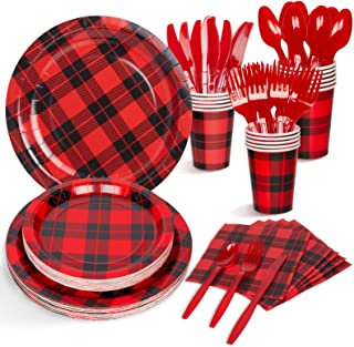 for Lumberjack Birthday Decorations Spoons Included 112pcs Serves 16 Baby Shower Decorlife Buffalo Plaid Party Supplies Red Plaid Plates Picnic Buffalo Plaid Party Cups Forks Holiday Event Knives Napkins