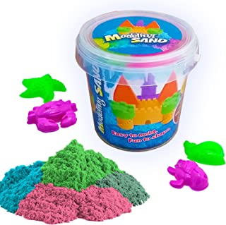 Kaiyuan Dynasty Kinetic Play Sand Moldable Beach Magic Sand Set Colored Play Sand 1.8lbs + 4pcs Molds for Kids Creative Playing, Colors May Vary