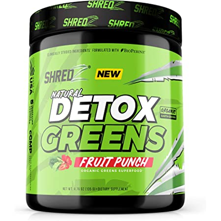 Natural Organic Detox Greens Superfood, Fruit Punch - 20+ Ingredients, Vitamins, Minerals, and Prebiotics   Reduce Bloating, Aid Weight Loss, Aid Digestion, Promote Detox & Immunity, Boost Energy