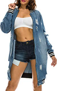TwiinSisters Women's Boyfriend Destroyed Front Back Denim Jacket Size Small to 3X
