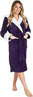 Bata de Estar por Casa Mujer Invierno con Capucha, Ropa de Dormir Suave Material de Forro Polar, Batín Tejido Peluche Accesorios Mujer, Regalos para Mama
