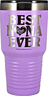 "GIFTS FOR NANA – ""BEST NANA EVER ~ LOVE YOU"" GK Grand Engraved Stainless Steel Vacuum Insulated Tumbler Travel Coffee Mug Hot Cold Wine Mothers Day Birthday Christmas (Pastel Lavendar, 30 oz)"