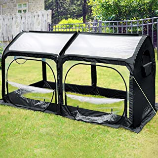 Quictent Pop up Greenhouse Passed SGS Test Eco-Friendly Fiberglass Poles Overlong Cover 6 Stakes 98 x 49 x 53 Inches Mini Portable Green House W/ 4 Zipper Doors (Black)