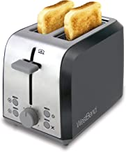 West Bend 78823 Extra Wide Slot Toaster with Bagel Settings Ultimate Toast Lift and Removable Crumb Tray, 2-Slice, Silver