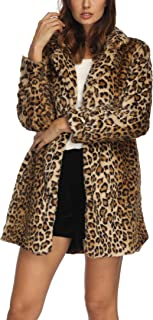 Luodemiss Women's Leopard Faux Fur Coat Winter Outerwear Long Sleeves Warm Jacket Sexy Lapel Overcoat
