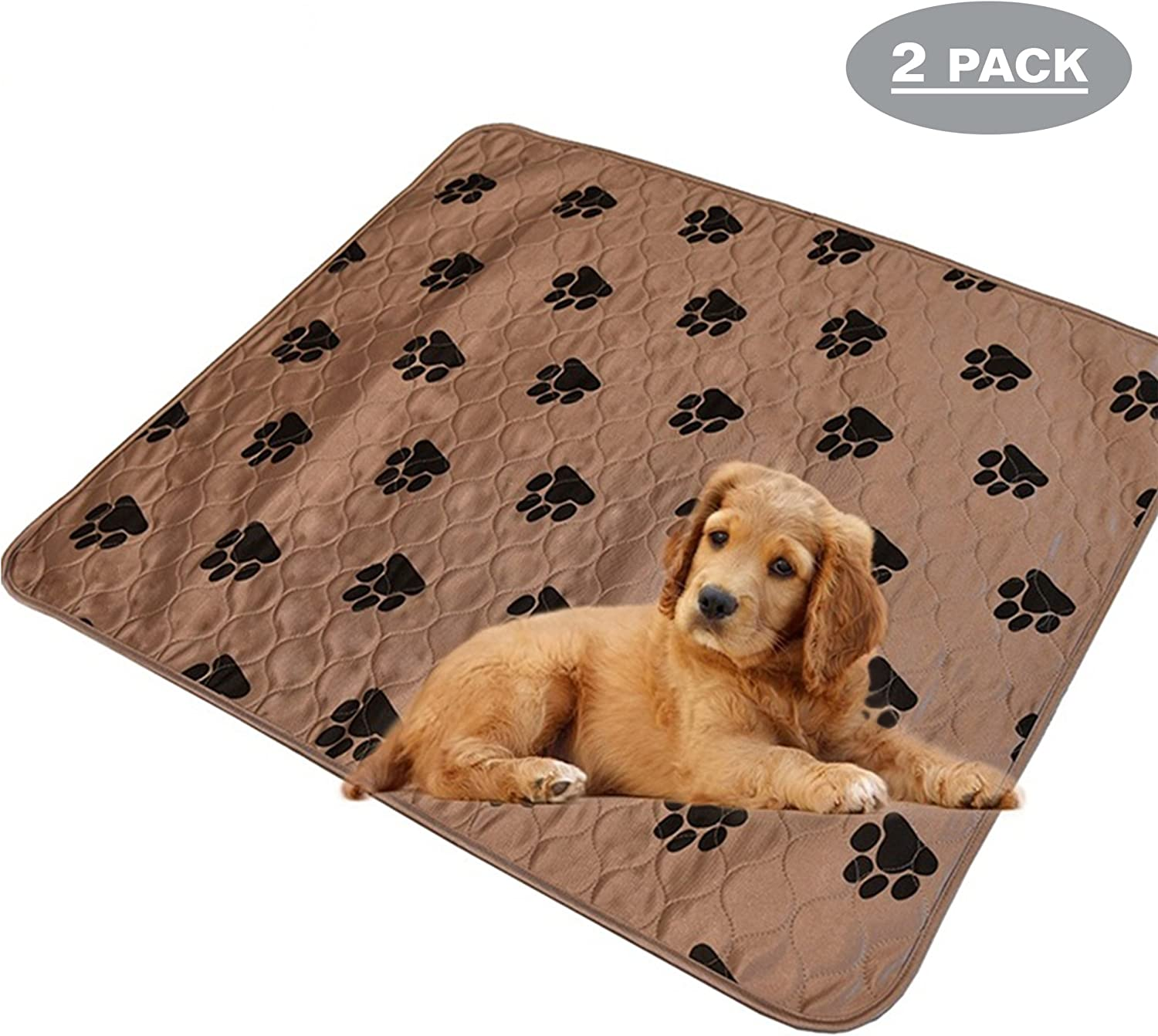 Pack of 2  Large Washable Puppy Pee Potty Pad and Reusable Travel Dog Mat (31.5  x 35.5 )  Light Brown