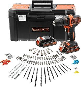2 Batteries 80 accessoires 2 vitesses Livr/ée en organisateur BLACK+DECKER BDC718AS2O-QW Perceuse-Visseuse sans fil 20 250 cps//min 18V