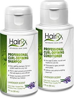 HairRx Professional Curl-Defining Shampoo & Conditioner Travel Set, Luxurious Lather, Lavender Scent, 2 Ounce Bottles