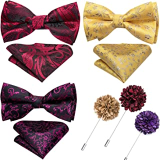4 pcs Bow Ties for Men Bulk with Pocket Square Tie Bowtie and Cufflinks in Gift