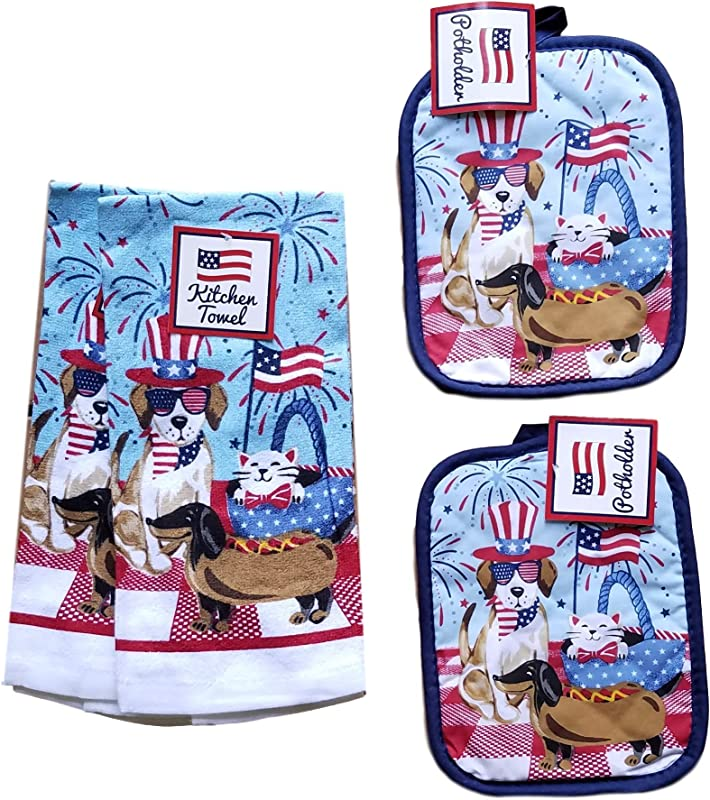 Mainstream International Dog Lover S Gift Kitchen Linens Patriotic 4th Of July Picnic Bundle Of 4 2 Potholders 2 Dish Towels