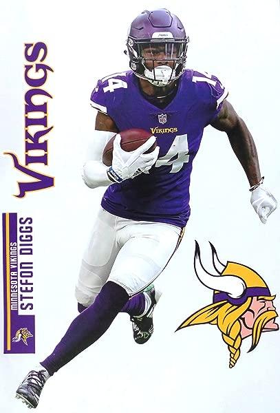 FATHEAD Stefon Diggs Minnesota Vikings Logo Set Official Vinyl Wall Graphics 17 INCH